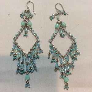 Turquoise bead chandelier earrings